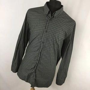 Billy Reid XL Shirt Gray Green Plaid Checkered